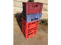 5 Crates for milk wine bottles