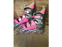 Pink/silver inline skates