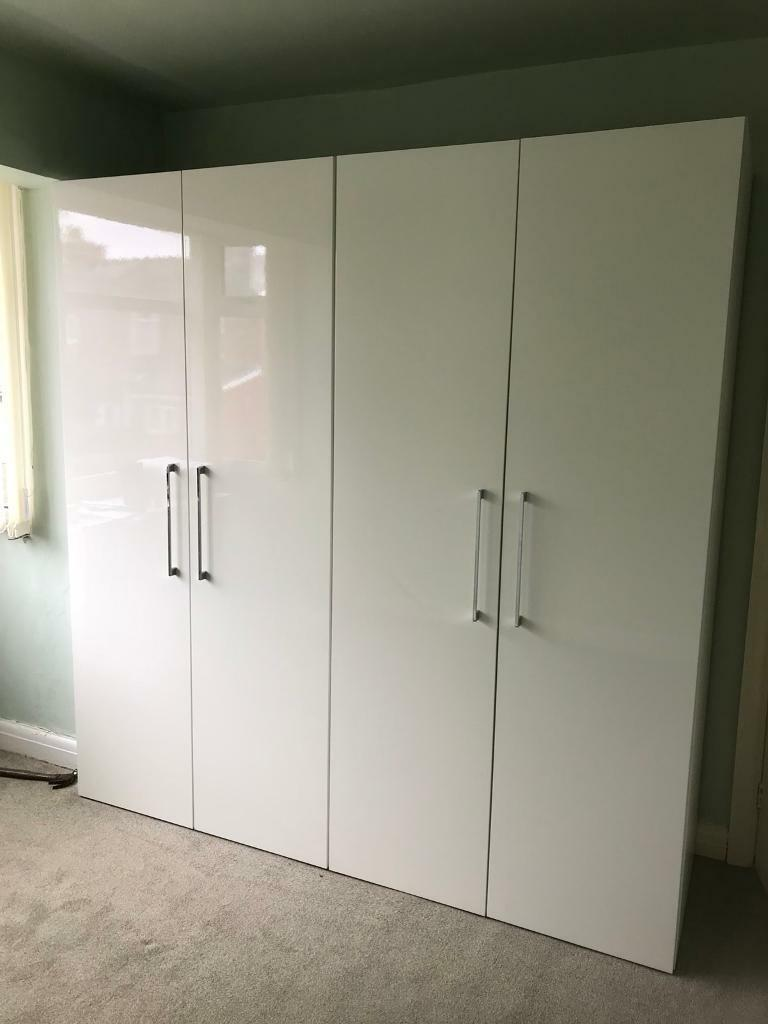 WELLE MOBEL bedroom furniture WHITE GLOSS 2 wardrobes, draws ...