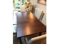 Dining table (seats 6 to 8) and 6 chairs