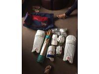 Cricket Gear: Pads, Batting Glove, Elbow,Thigh & Ball Gaurd, Stumps, Bails, Cricket Bag