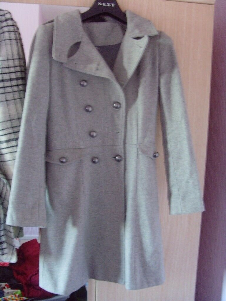 LADIES TOPSHOP GREY COAT ,SIZE 6 - £3