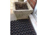 Dropped price 4 matching solid stone lattice planters