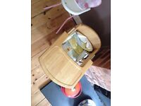 childs wooden feeding chair with table