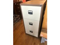 3 Drawer Metal Filing Cabinet in good condition , size W 47 in D 62 cm H 102 cm