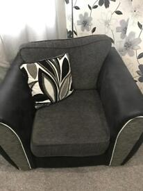 Grey, white & black corner couch and chair