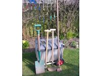 L@@K: JOB LOT OF GARDENERS TROLLEY/ BARROW AND 4 TOOLS FOR SALE.