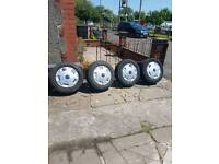 4 steel wheels with excellent tyres 3 like new with wheel covers Ford Transit Mark 7