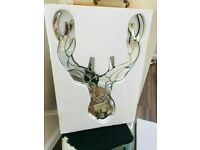 NEW SALVAGE STAG ANTLER GLASS DECORATIVE WALL MIRROR