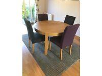 Round Oak Veneer Dining Rolm Table (extendable)