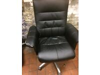 BLACK REAL LEATHER OFFICE/DESK ARMCHAIR, £190 AT OFFICEFURNITUREONLINE, VERY COMFORTABLE,
