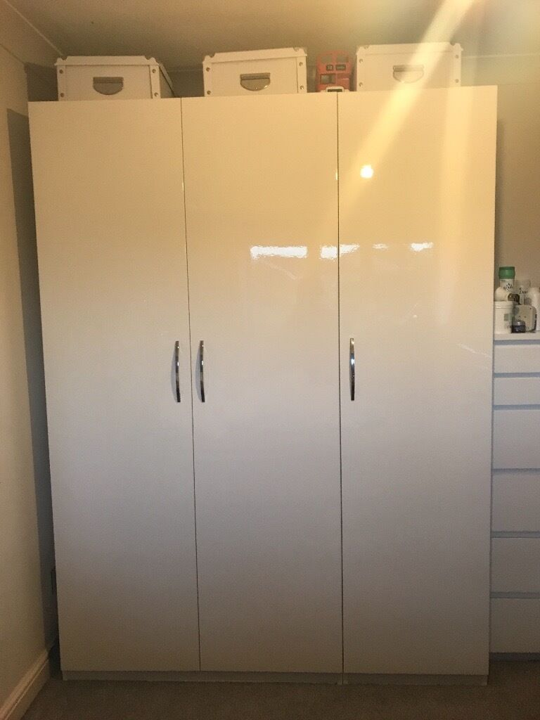 Ikea pax triple high gloss wardrobe white in Pontefract, West Yorkshire Gumtree