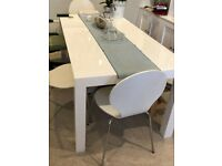 MADE Bramante 6-12 Seat Extending Dining Table, Gloss White. Used.