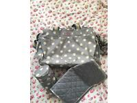 Cath Kidston grey spot baby changing bag