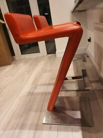 Red Z-Shaped Bar Stool