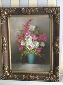 Oil Painting Flowers in a vase frame size 16 inches x 20 inches