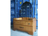VINTAGE ART DECO GOLDEN WALNUT DRESSING CHEST TABLE FREE DELIVERY IN THE GLASGOW AREA