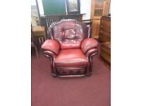 Reclining Ox Blood Leather Armchair