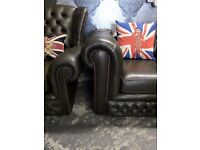 Stunning Chesterfield 3 Seater Sofa & Monk Chair Dark Green Leather - Uk Delivery