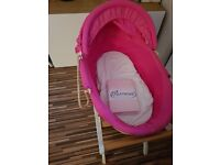 Moses basket and stand and 2 new sheets