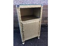Vintage Lloyd loom gold bedside cabinet