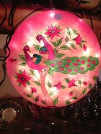 Hand painted table and wall hanging lamp