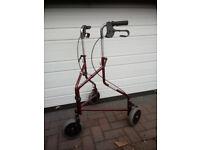 Invacare Delta 3 wheel rollator with all accessories