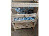 BRAND NEW WOODEN SMALL PET ENCLOSURE AND BASKET