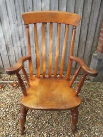 Victorian slat back armchair 113cm high, 64cm wide (outside arms) seat 48x50cm general wear with age