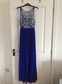 Bright blue jewelled Quiz prom, bridesmaid or cocktail dress size 10