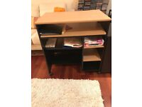 Real wood desk and filing cabinet.