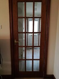 4 x Internal wooden doors - dark wood finish