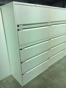 "Teknion 36""Wide - 5 Drawer Lateral Filing Cabinets - White"