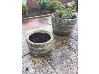 Stone/concrete barrel shaped plant pots