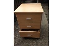 2 Beech wood effect 3 draw bedside cabinets,..