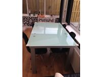 DFS Glass Extending Dining Table 4-8 seats