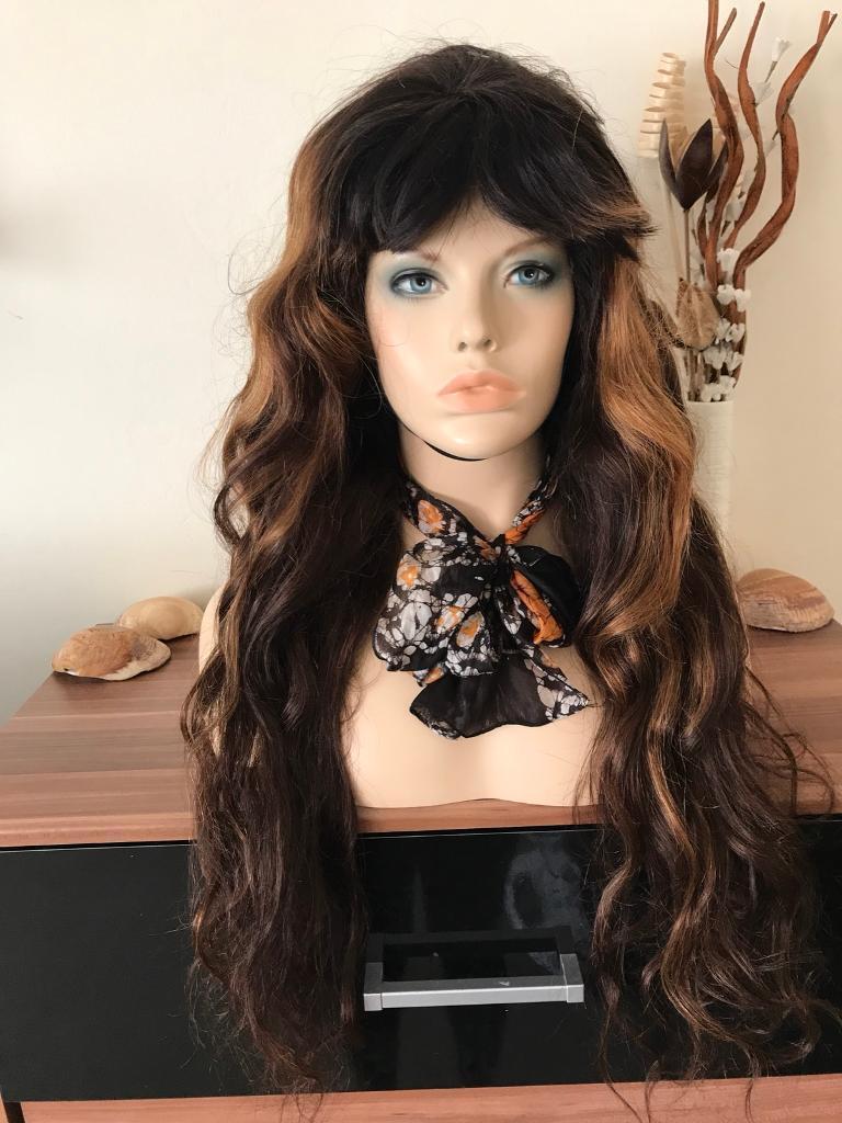 "26"" Brazilian Silk Top Full Lace Wig, heavy density with fringe"