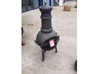 Iron chiminea, fire pit, garden heater