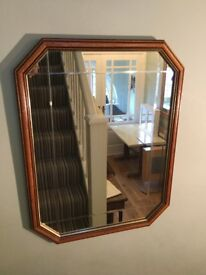 Eight Sided Dark Oak Framed Mirror with Bevelled Glass Height 26in/66cm Width 20in/51cm