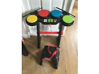 Child's musical drum kit headset and stool
