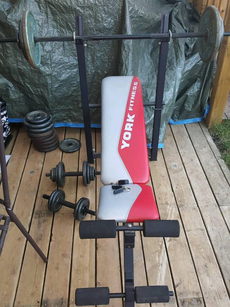 York weight training bench and weights