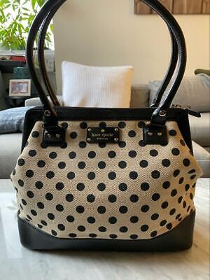 $348 Authentic Women's Kate Spade New York Polka Dot Canvas Bag Black Cream