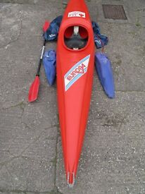 EUROPA ACE kayak with seat, paddle and four buoyancy float bags Approx 13ft / 4m