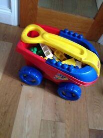 Mega bloks lego and pull on car