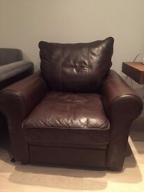 Heals brown leather armchair