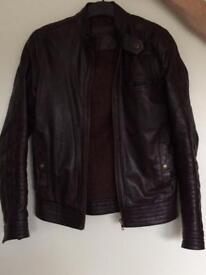 Brown Men's Leather Jacket XXS ASOS