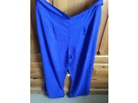 Ladies size 20 soft thin Electric blue baggy trousers