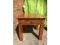 Solid wood chunky coffee/lamp side table