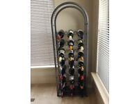 Silver Art Deco Silver Metal Floor Standing 24 Bottle Wine Rack Holder