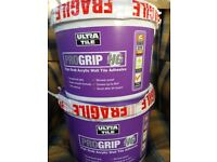 2 x 15kg sealed, new, unused ready mixed High Grab Acrylic Wall Adhesive. Each tub covers 6m2.